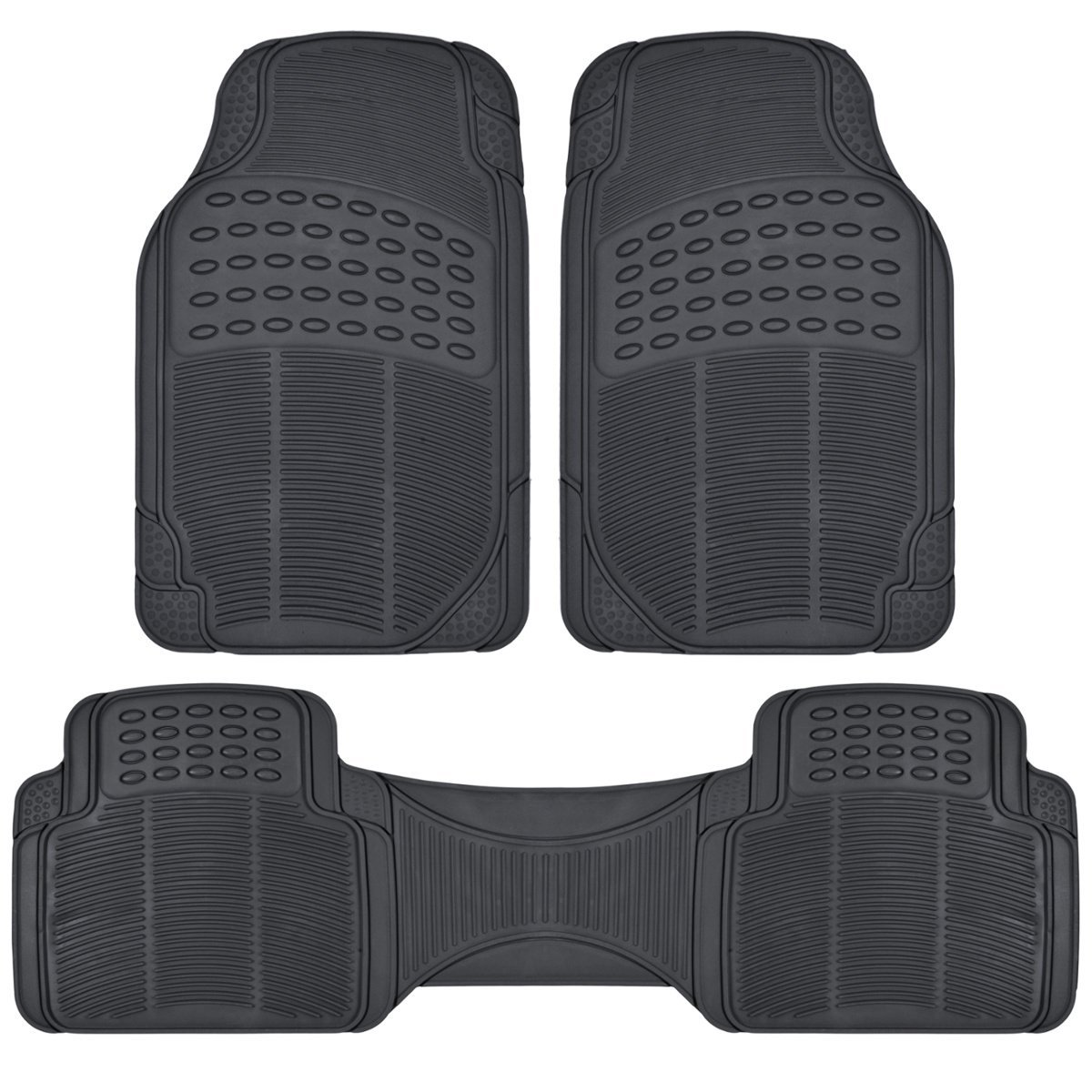 Heavy Duty PVC Classic Rubber Mats 3pcs - Black