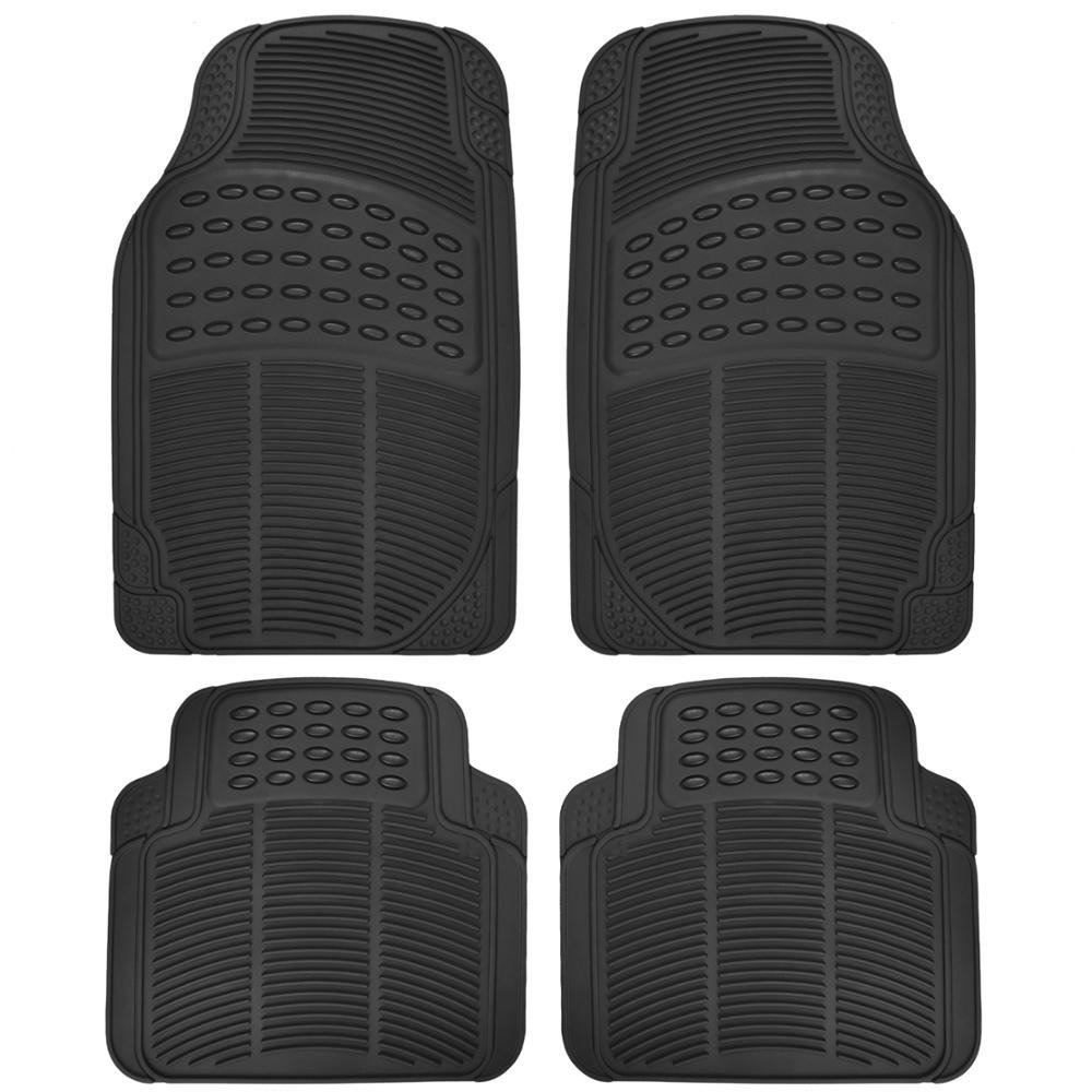 Heavy Duty PVC Classic Rubber Mats 4pcs - Black
